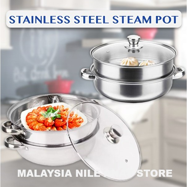 READY STOCK🌹 28CM PERIUK MASAK KUKUS 2 TINGKAT TAHAN KARAT / STAINLESS STEEL STEAM POT