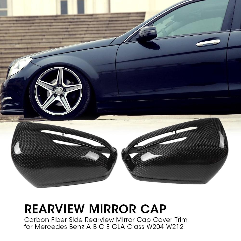KIMISS Carbon Fiber Side Rearview Mirror Cap Cover Trim for Mercedes Benz A B C E GLA Class W204 W212