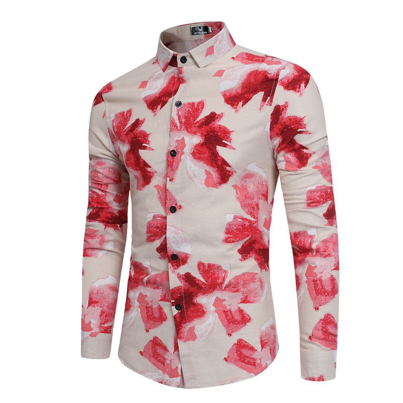 c1045a08b39 ProductImage. ProductImage. Men Shirt Long Sleeved Print Slim Flowery shirt  plain casual ...