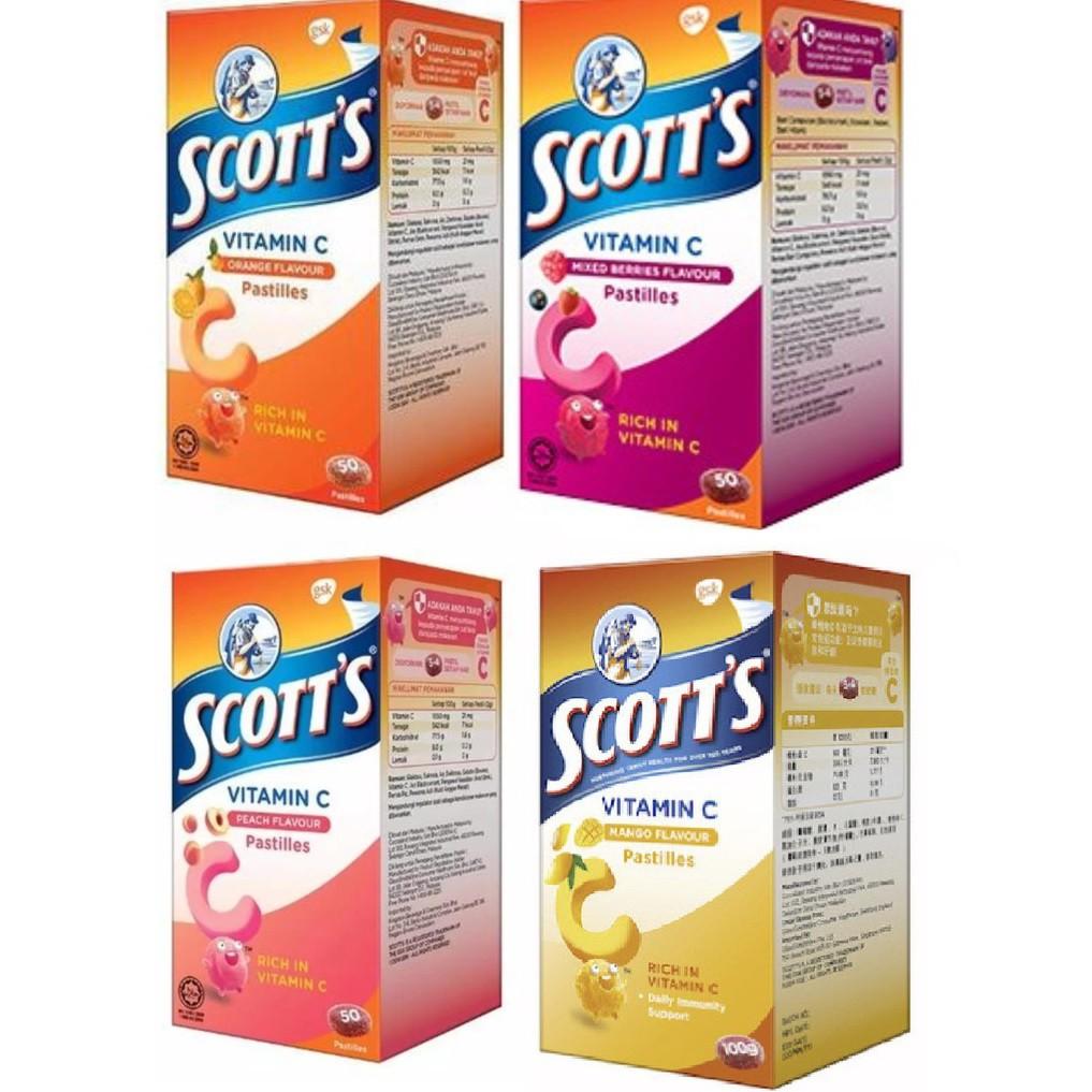 Scott\'s Vitamin C Pastilles 50\'s ( Orange / Mango / Mixed Berries / Peach)