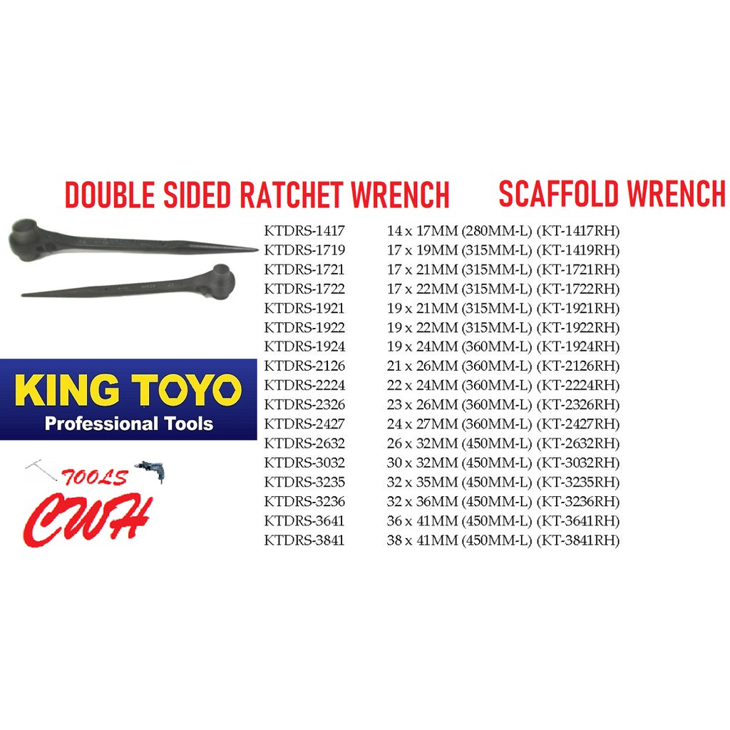 KING TOYO TAIWAN GLORY DOUBLE SIZE RATCHET WRENCH SCAFFOLDING WRENCHES SCAFFOLD DRIVER SOCKET NUT TOP REMAX SATA STANLEY