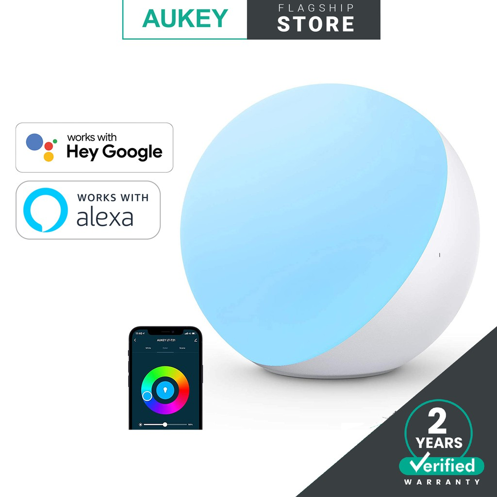 AUKEY LT-T21 Smart RGB LED Lamp with Smart Voice Control works with Alexa & Hey Google