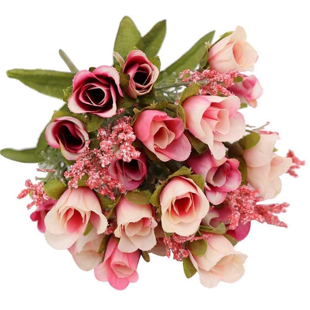 20 Heads 1Pc Artificial Rose Flower Bouquet Home Decor Wedding Mini Rose Silk Flower Romantic Wedding Party Supplies (D