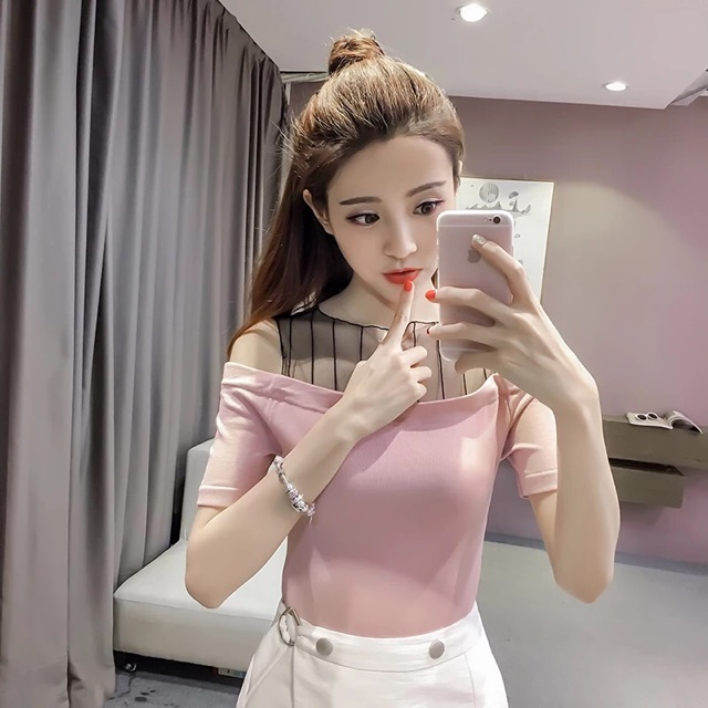 [S~XL]Summer sexy mesh gauze shoulder top 夏装新款韩版短袖女t恤一字领性感露肩网纱上衣百搭打底衫潮