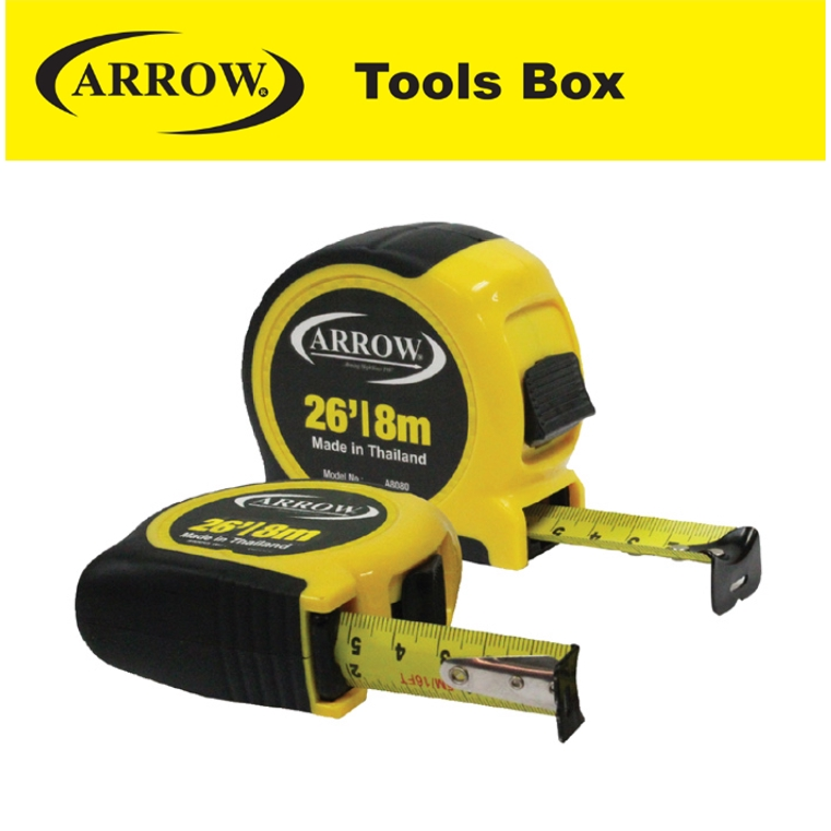 ARROW A 8080  HIGHB QUALITY TAPE MEANSURE (PREMIUM) HEAVY DUTY MEASURING TAPE EASY USE SAFETY GOOD QUALITY