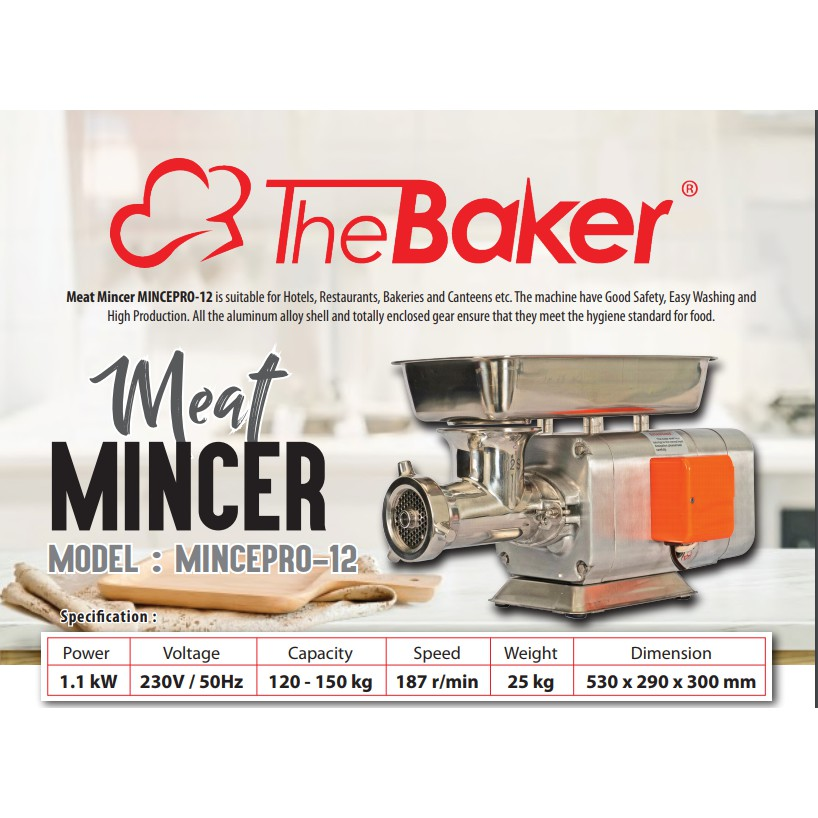 1100W 150KG/HR 187RPM THE BAKER STAINLESS STEEL MEAT MINCER PRO12