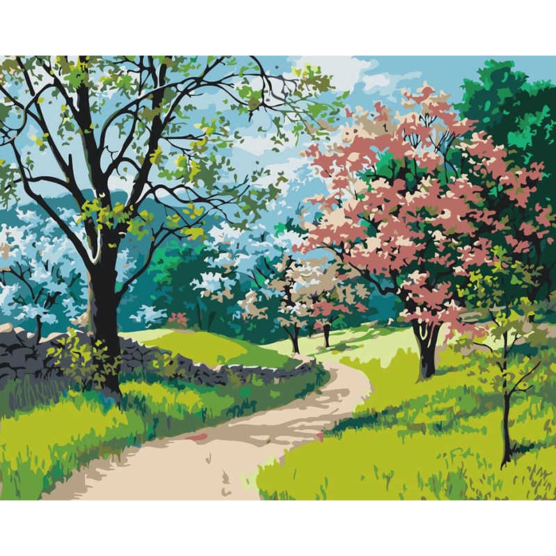 40*50cm Scenery Flowers Paint By Number Kit DIY Acrylic Oil Painting On Canvas