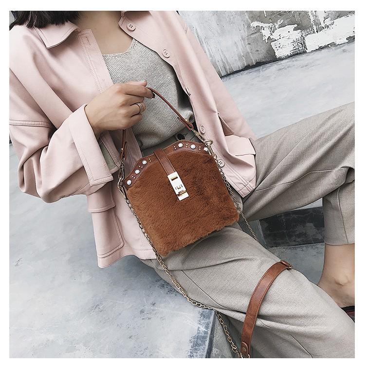 Semicircle Leopard Fur Cross Body Bag GoGoHo New Ladies/' Fashion Chain Bag