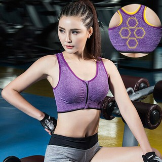Fashion Women Bra High Impact Front Zip Wireless Padded Cup Tank Tops Gym