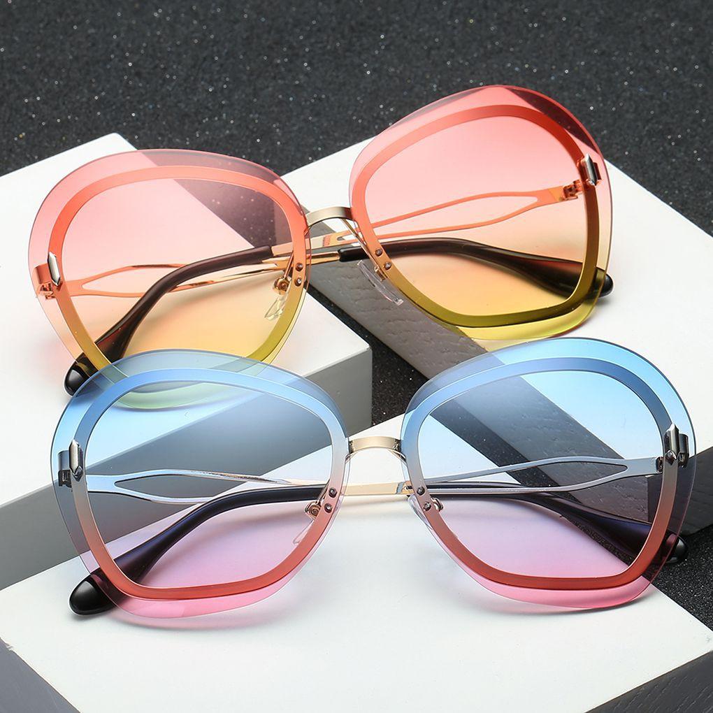 Gradient Lens Metal Sunglasses Women Men Anti-UV Eyewear Traveling Sun Glasses