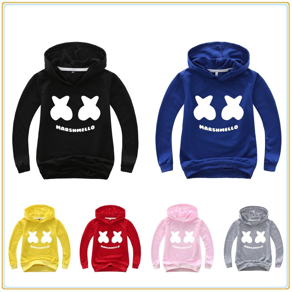 Marshmello Boys Girls Kids Spring Sweatshirts Hoodies Pullover Casual Clothing