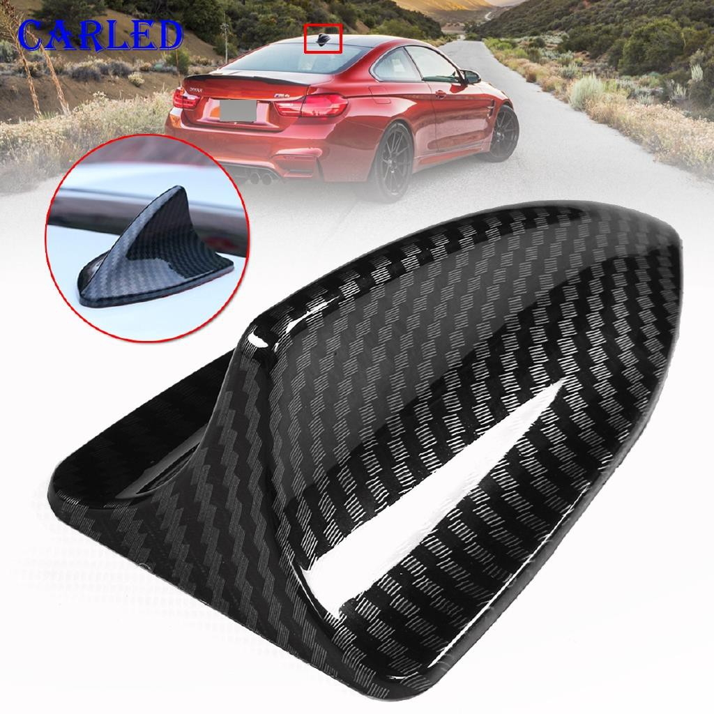 Carbon Fiber Car Shark Fin Roof Antenna Radio FM//AM Decorate Aerial Fit For BMW