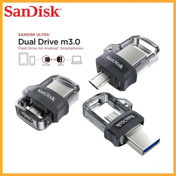 SANDISK ULTRA DUAL DRIVE USB M3.0 FOR SMARTPHONES TABLETS COMPUTERS HIGH SPEED USB 3.1 PERFORMANCE 130MB/S SLIDE TO OPEN