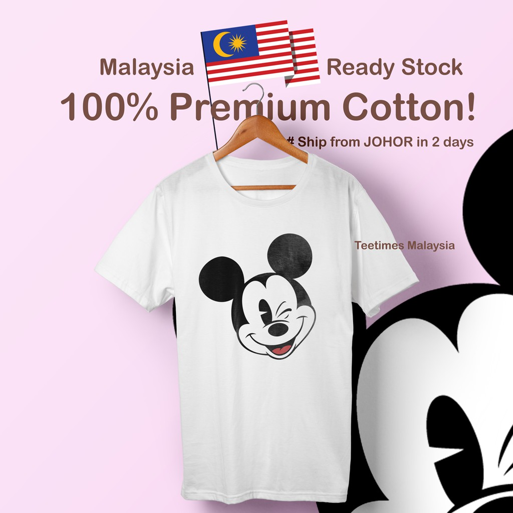 Ready Stock Cute Cotton Mickey Mouse Disney Unisex Korean Cartoon Loose Short Sleeve Baju T Shirt Basic Tee Murah Shopee Malaysia