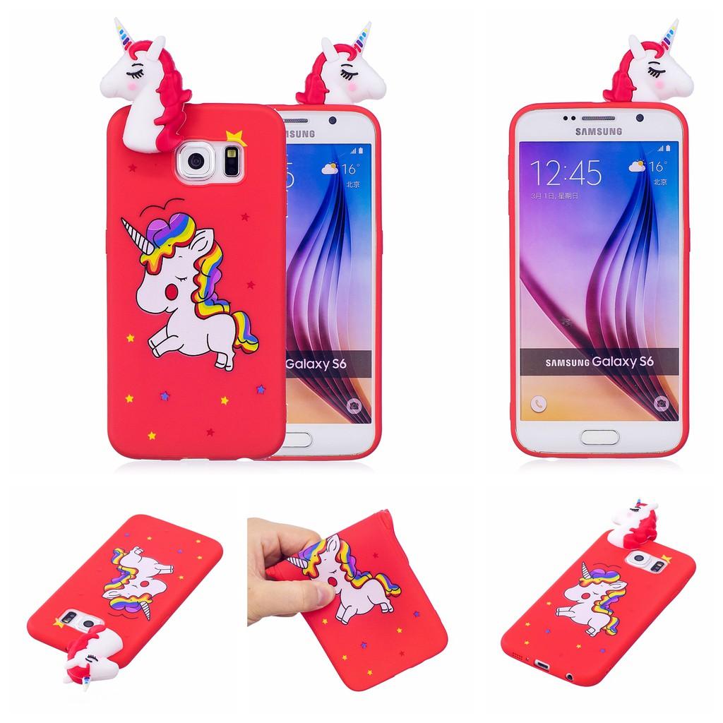 size 40 7adbe cfff3 3D Cute Panda Cat Unicorn Cases For Samsung Galaxy S6 Edge Cartoon toys  soft TPU