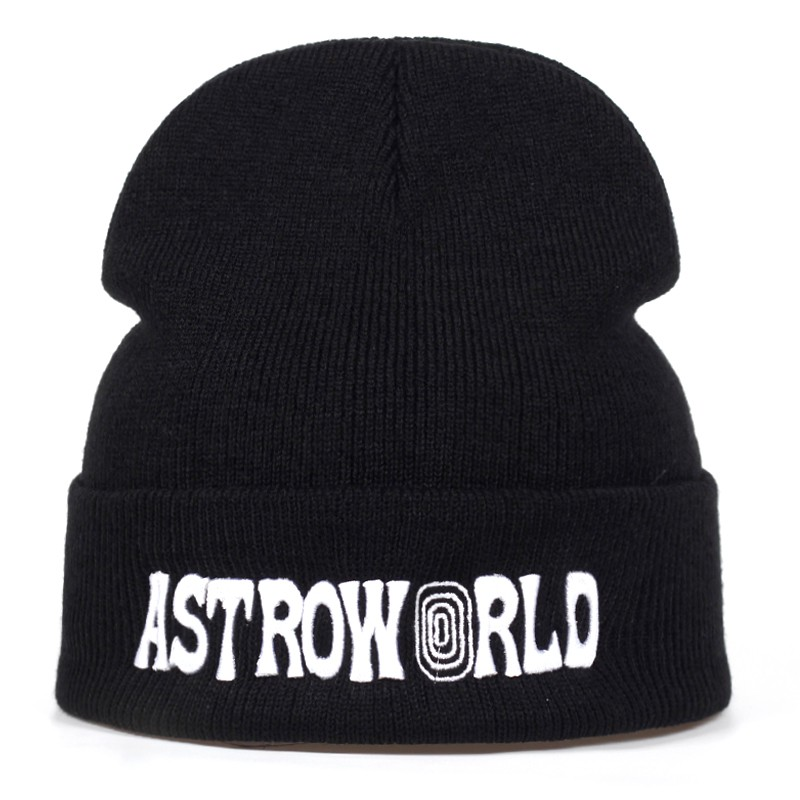0491d1147ce55 Travi$ Scott Knitted Hat ASTROWORLD Beanie 3D Embroidery Ski Warm Winter  Caps