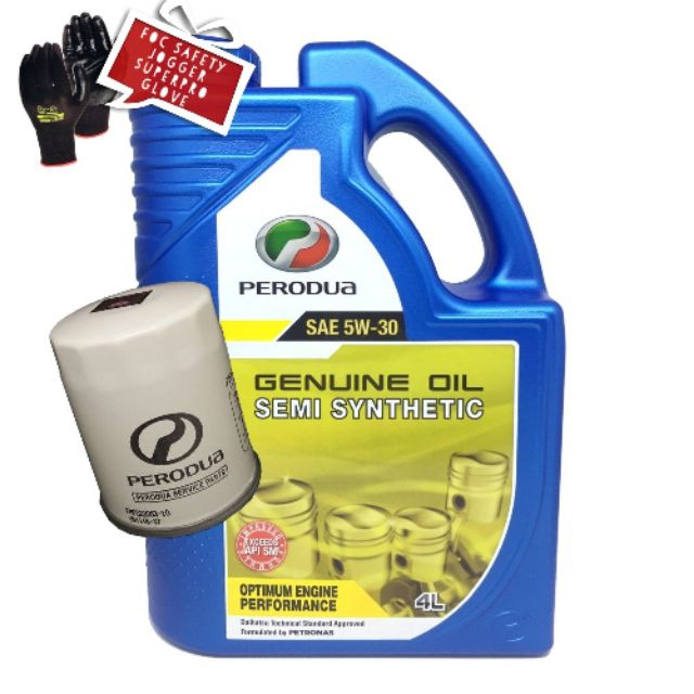 Perodua 5w30 semi synthetic engine oil 4lt with ori oil filter foc hand glove