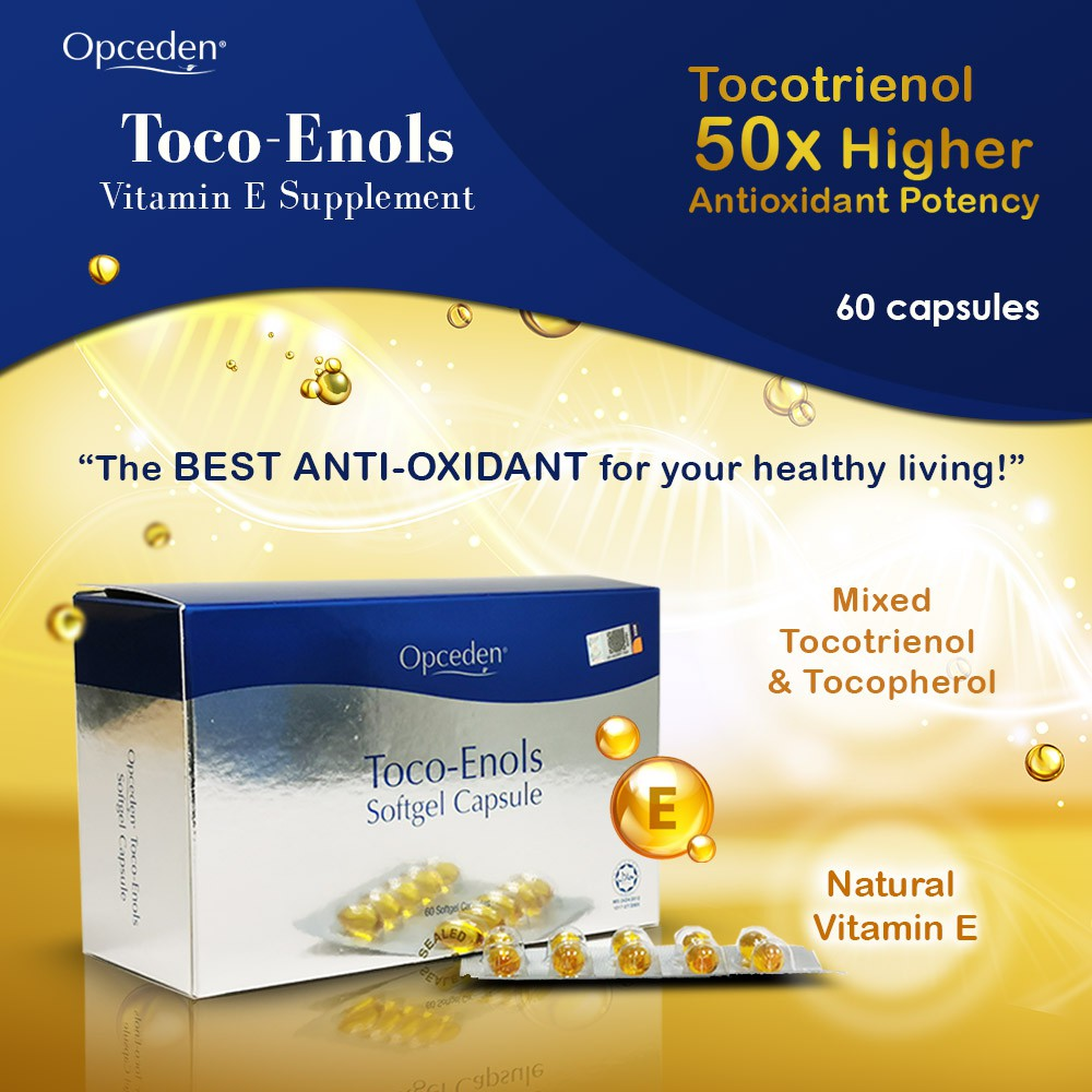 1 Box of Opceden Toco-Enols 60 Softgels Capsule x 440g Vitamin E Supplement with 50 Times Higher Antioxidant Potency