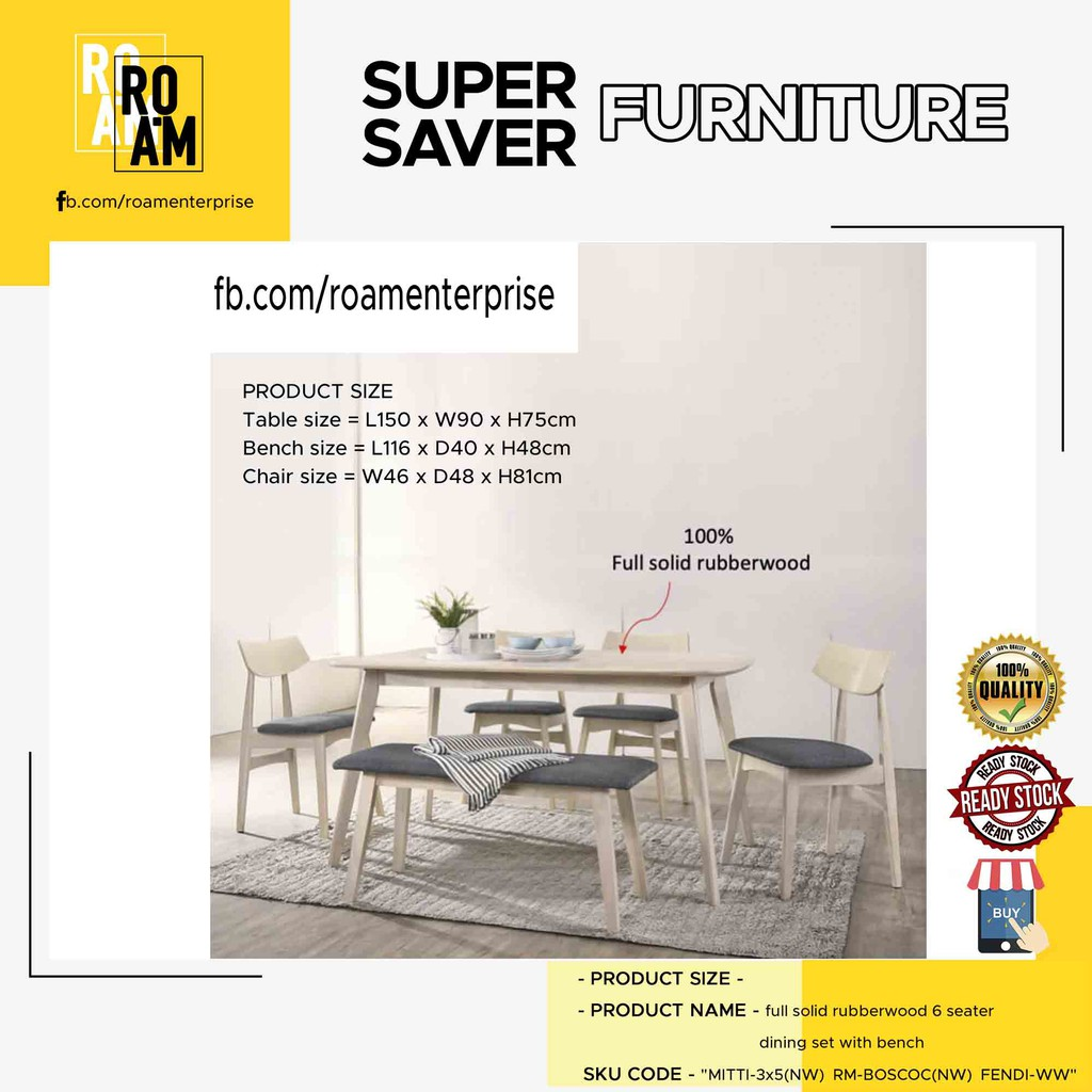 KALMAR FULL SOLID RUBBERWOOD 6 SEATER DINING SET WITH BENCH