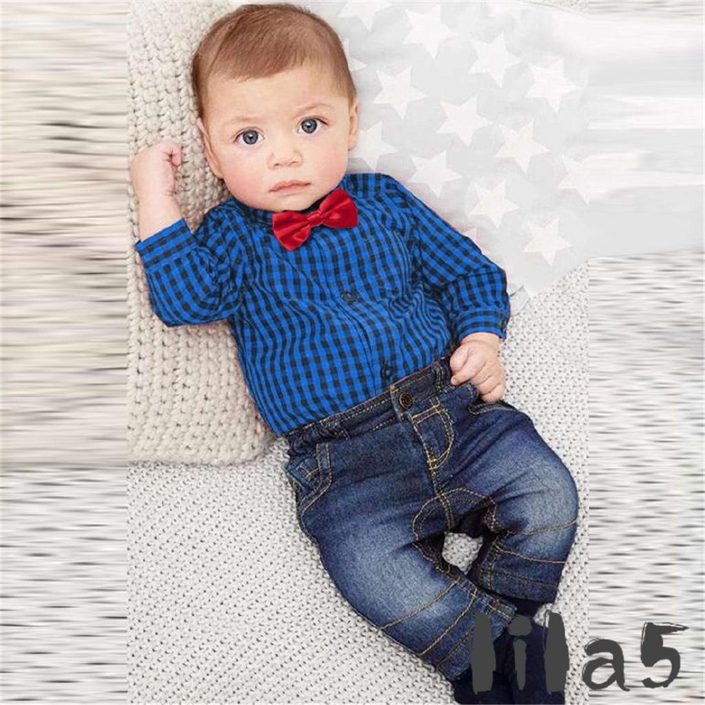 7ec0bbe29 ღ☭Newborn Kids Baby Boy Romper Tops Jeans Denim Pants Outfits Set Clothes