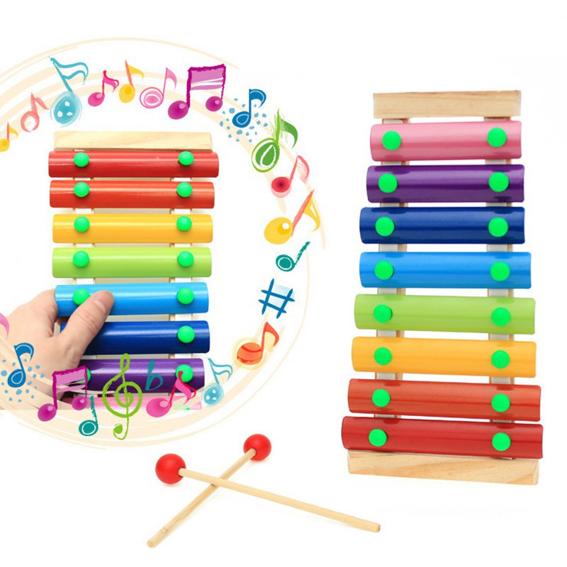 Educational Toy Wooden Toy Musical Instrument 8 Note Xylophone Octave Piano Long
