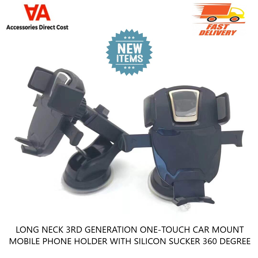 Long Neck (3rd Gen) One-Touch Car Mount Mobile Phone Holder With Silicon Sucker 360 Degree