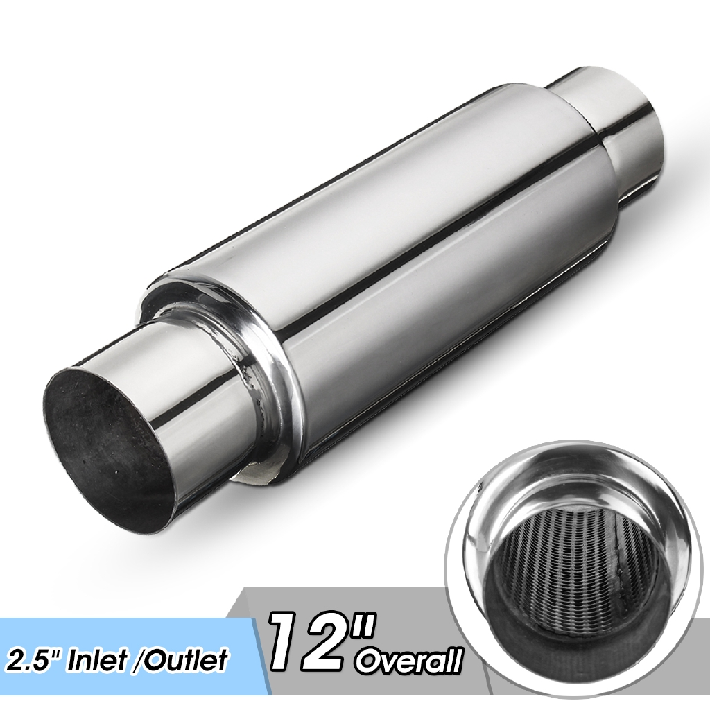 """Resonator Stainless Steel Car SUV Chrome Universal 2/"""" In//Out Exhaust Muffler"""