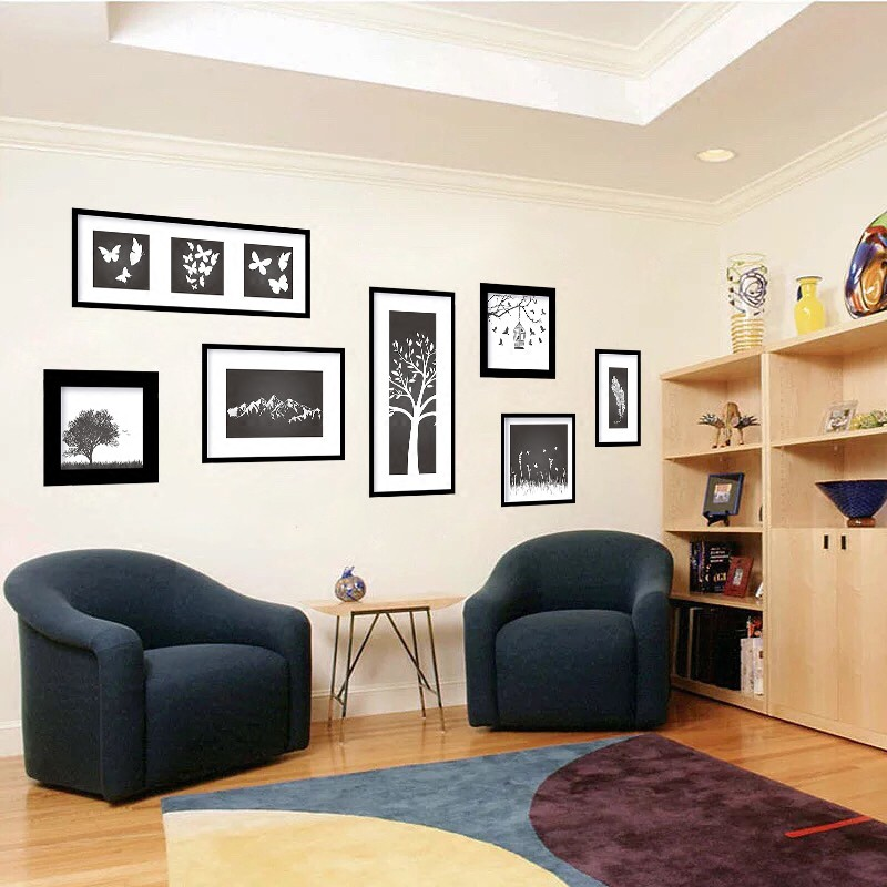 Black And White Photo Frame Living Room Background Wall Stickers Creative Simp Shopee Malaysia