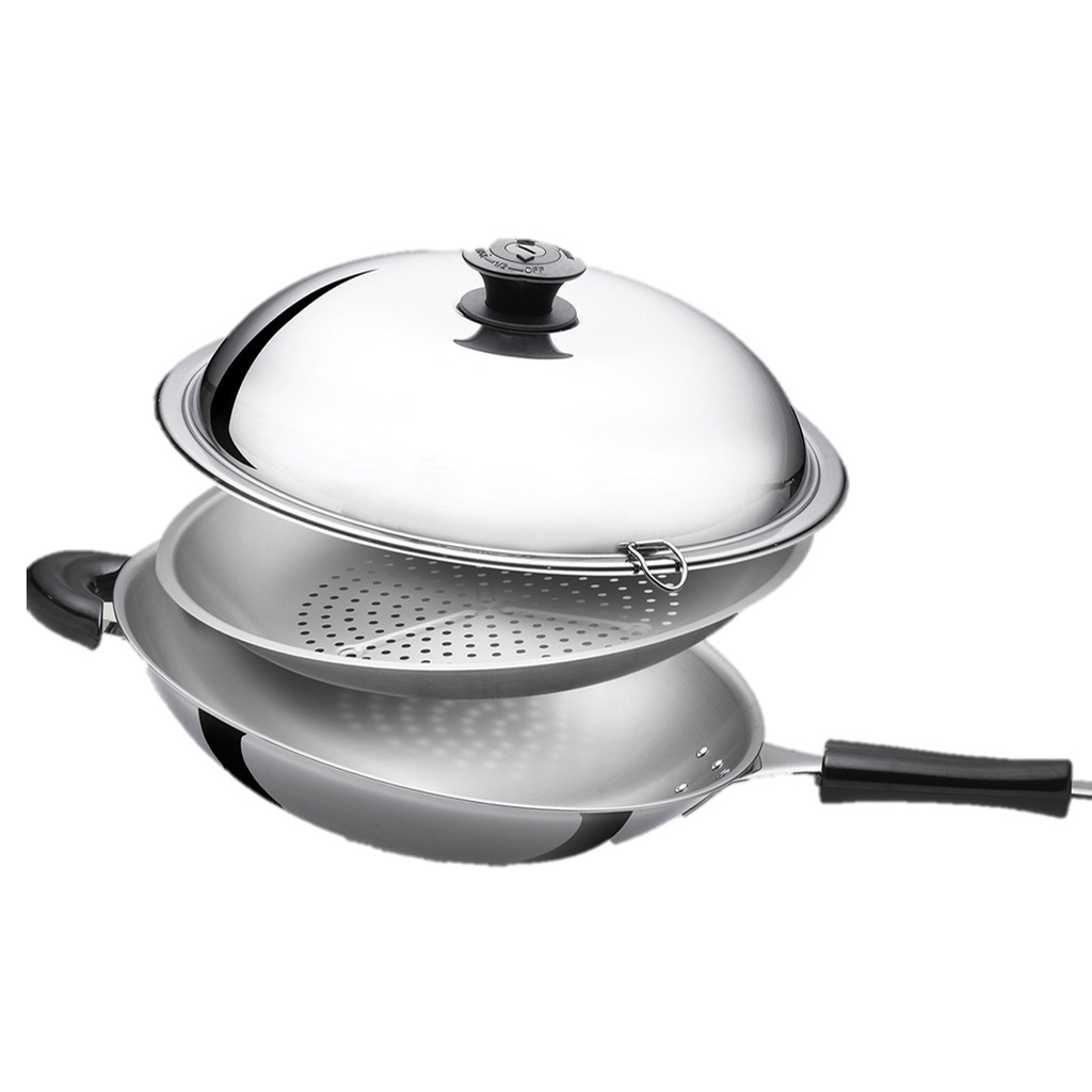 [CNY PROMOTION] 35CM YADENG SERIES S/S Round Bottom Wok + Free Steam Rack 牛头牌35cm雅登炒锅+免费蒸架