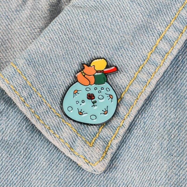 Le Petit Prince Enamel pin Custom Brooch Bag Clothes Lapel Pin Fox Rose B-612