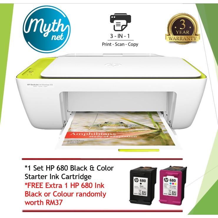 HP Deskjet 2135 All-In-One Printer (Print, Copy, Scan) (Free Extra 1 HP 680  ink black or color randomly)