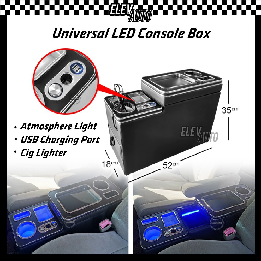 LED Universal Center Console Storage Box With USB Port Cig Lighter For Toyota MPV Cars (18cm x 52cm x 35cm)