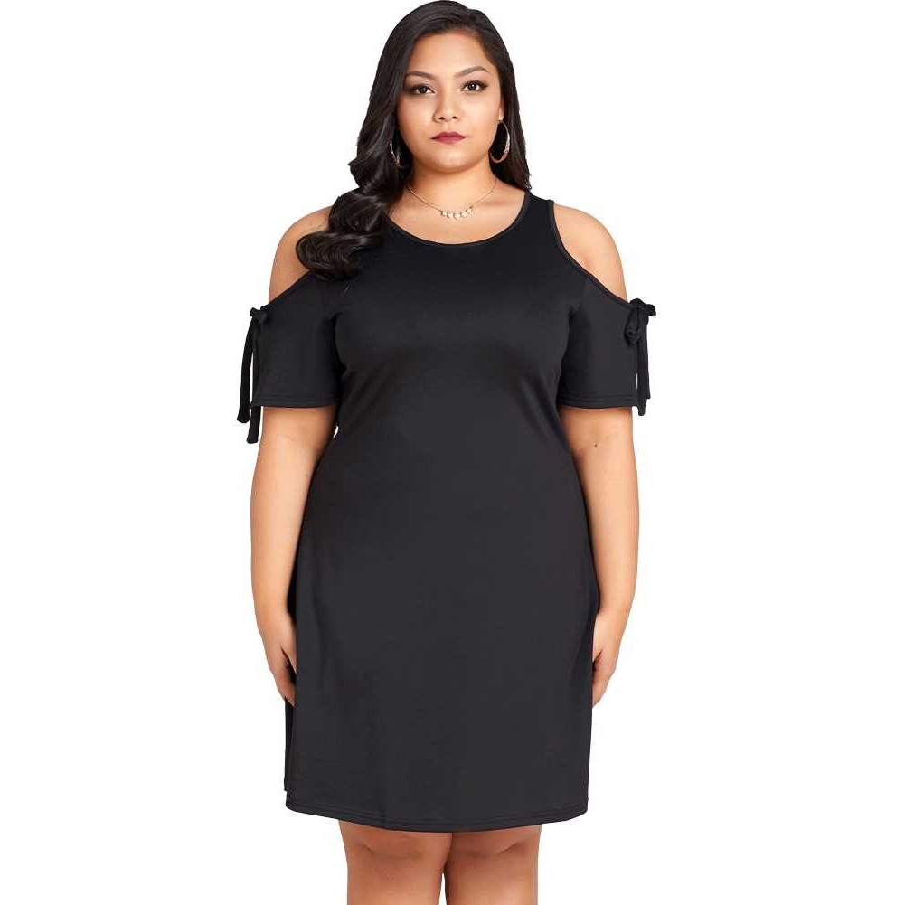 Fashion Women Tie Cold Shoulder Short Sleeve Dress O Neck Keyhole Back Party Club Mini Dress Black (Black)