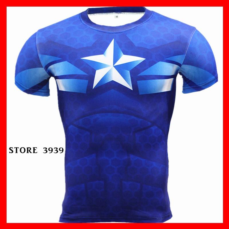 26e656f8 😉DIRECT KILANG😉🇨🇳 🇨🇳3D short T-shirt fitness Superhero Captain America  | Shopee Malaysia