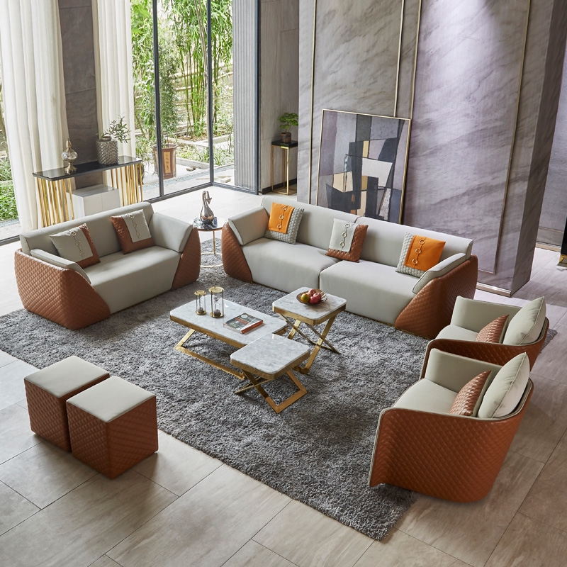 living room furniture light luxury hong kong style leather