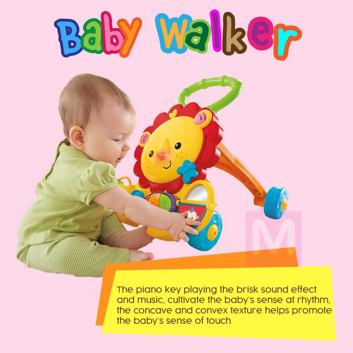 Mitoyos 2 in 1 Musical Piano Lion Walker With Midi Song for