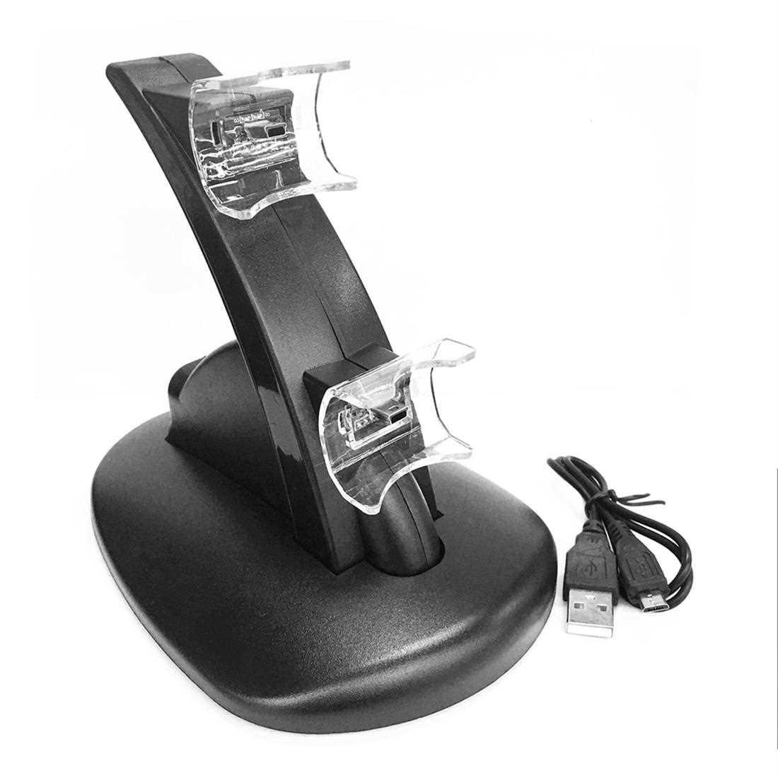 Black LED Light Quick Dual USB Charging Dock Stand Charger For PlayStation 3 (Black)