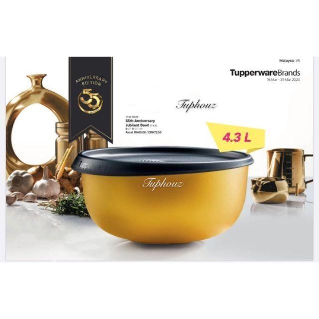 READY STOCK Tupperware (4.3L 1pc) 55th Anniversary Set Jubilant Bowl One Touch Bowl Grand Royale Bowl Gold Bowl