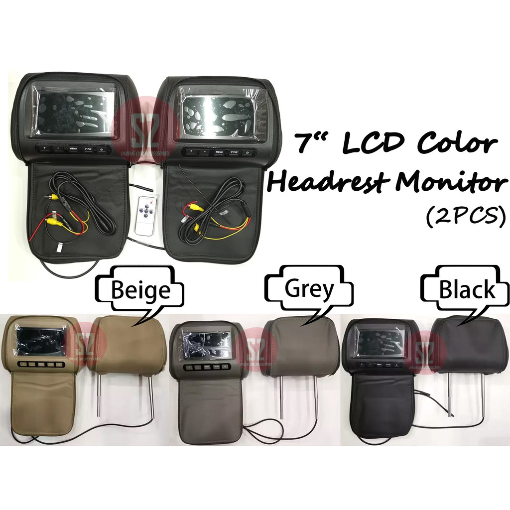 """2PCS 7"""" LCD Color Monitor Headrest TFT Monitor With Universal Black / Beige / Grey Mounting Pillow 