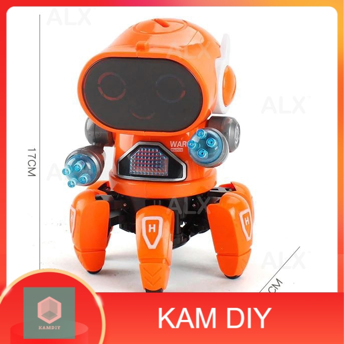 Electronic Cool Mini LED Six Claws Walking Dancing Robot Flashing Lights 360 Body Spinning Toy Toys