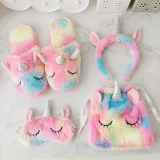 2b1749976c12f Lucky Unicorn Slippers Hairband Eyemask Drawstring Bag Rainbow ...