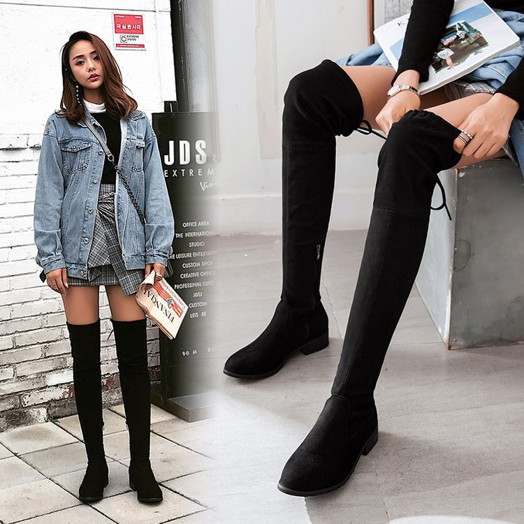 wide varieties outlet to buy Skinny legs over knee boots female round head flat bottom thick ...