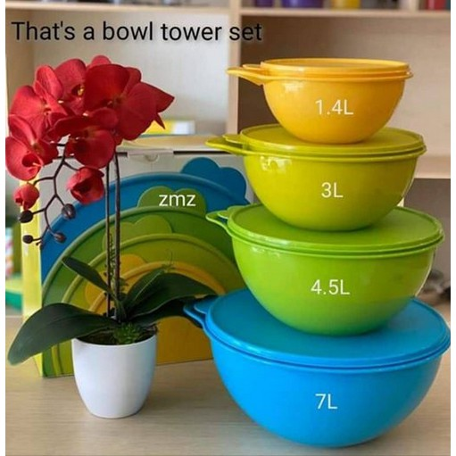 Tupperware That's A Bowl Tower Set 4pcs with box-1.4L,3.0L,4.5L,7.0L