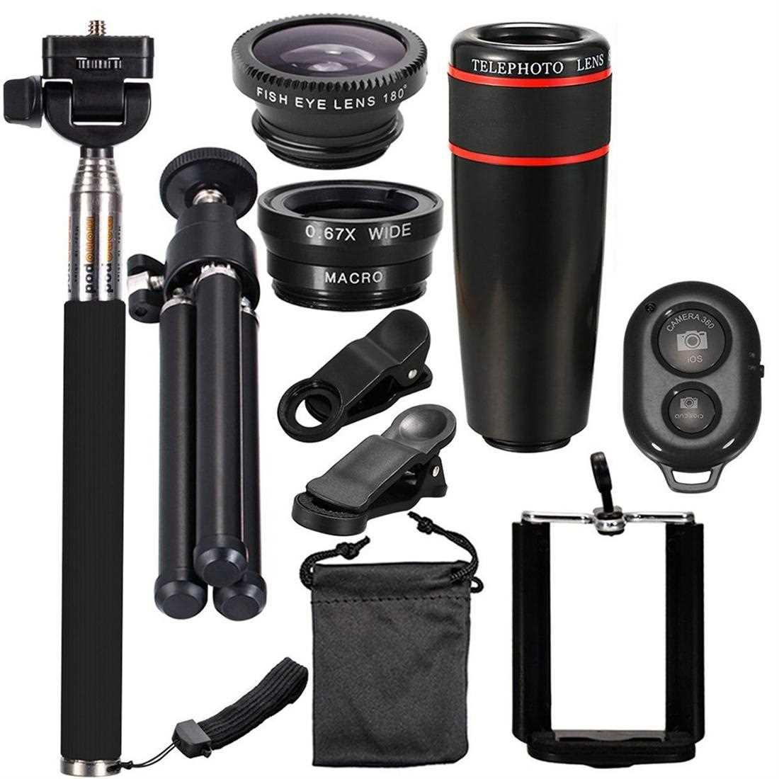 10PCS 12X Telephoto Universal Mobile Phone Lens Kits (Black)