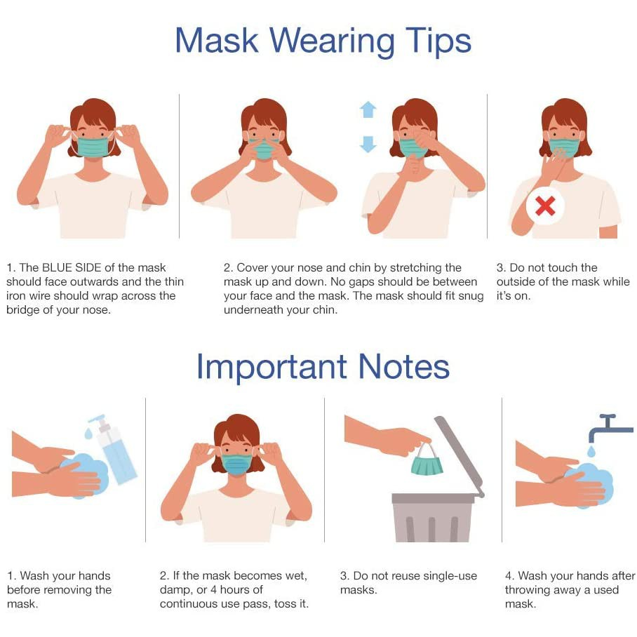 Disposable Face Masks Breathable Comfortable 3 Ply Safety Mask with Elastic Earloops for Daily Protection - pack of 50