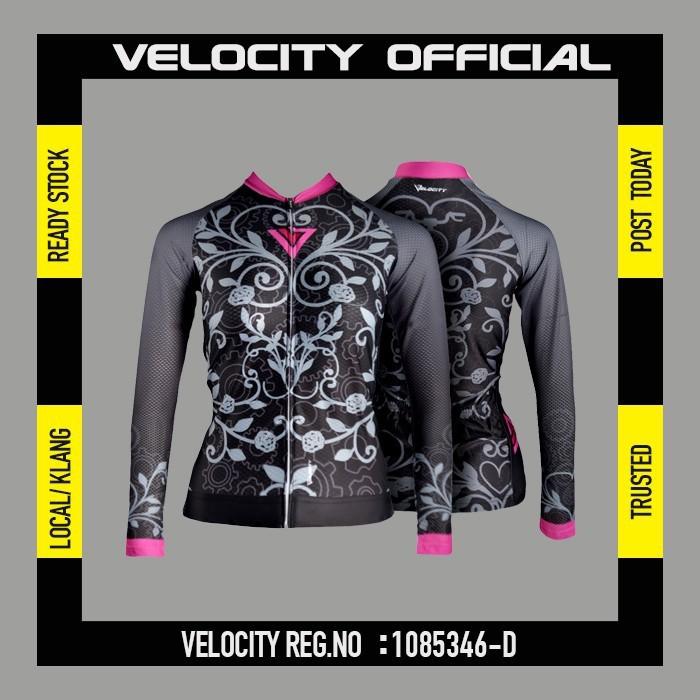 [READY STOCK]Velocity Lady Long Cycling Jersey-Black Leaf