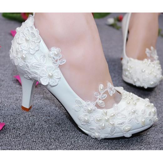 Kasut Kawin Putih Pengantin Kasut Akad Nikah Wedding Shoes 2019 Bride Bridal Shopee Malaysia