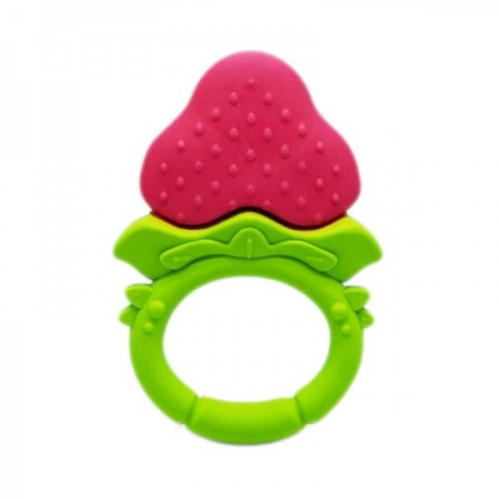 ANGE Teethers for Babies Toys Boy Girl Infant Fruit Organic Gum Cleaner TPE Material Strawberry