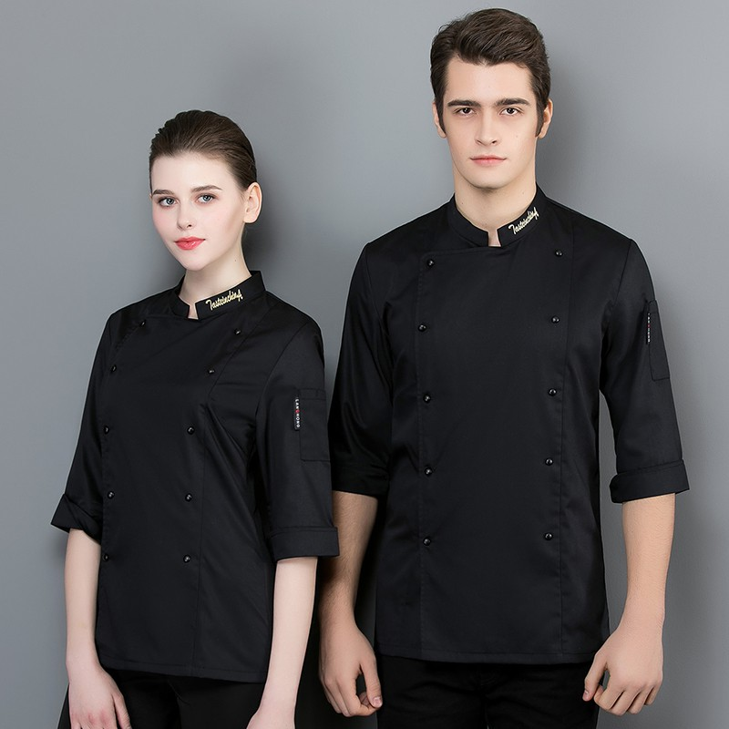 Chef Long Sleeve Uniform Restaurant Stand Collar Coat Breathable Kitchen Clothes