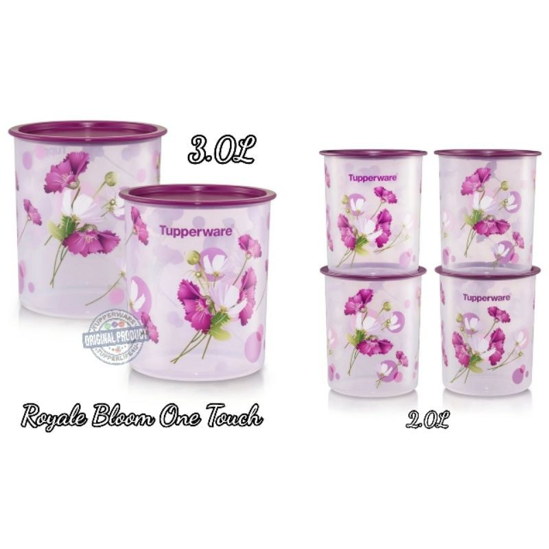 💥Ready Stock- 4/21 cat💥Tupperware Royale bloom one Touch 2L/3L